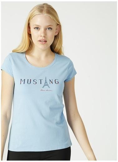 Mustang Mustang Kadın Açık Mavi Bisiklet Yaka T-Shirt Mavi